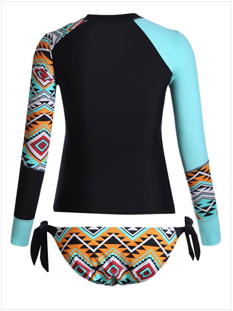Geometric Printed Bowknot Long Sleeve Swimsuit