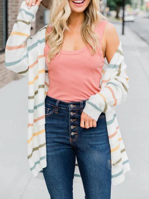 Bonnieshoes Daily Striped Long Cardigan