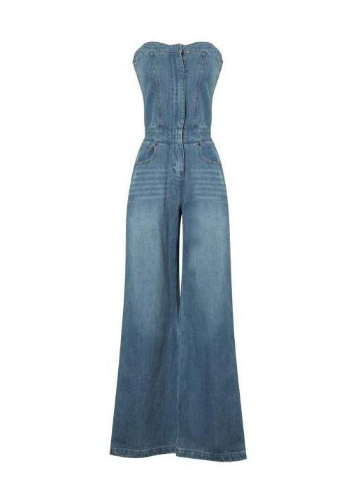 Tube Top Wide-leg Denim Jumpsuit Bell-bottomed Pants