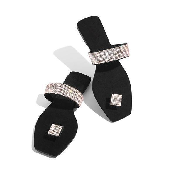 Bonnieshoes Women Square Toe Rhinestone Slippers