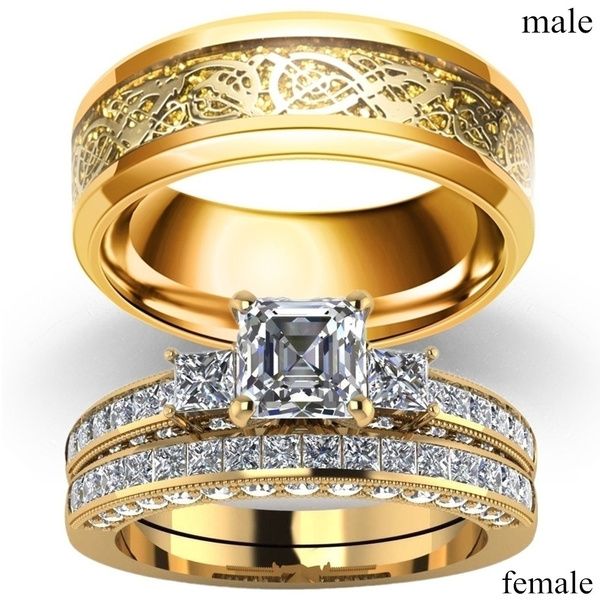 Couple Rings - Men's 8mm Stainless Steel Dragon Pattern Rings and Women's 18K Yellow Gold Filled Three Stone Diamond Ring Set Bridal Wedding Jewelry 5-13