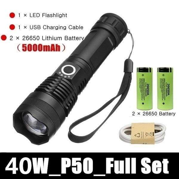 2020 HOT Outdoor 90W Hunting High Power LED Flashlight 26650 Ultra Bright Tactical Torch Rechargeable Flashlight Night Lighting