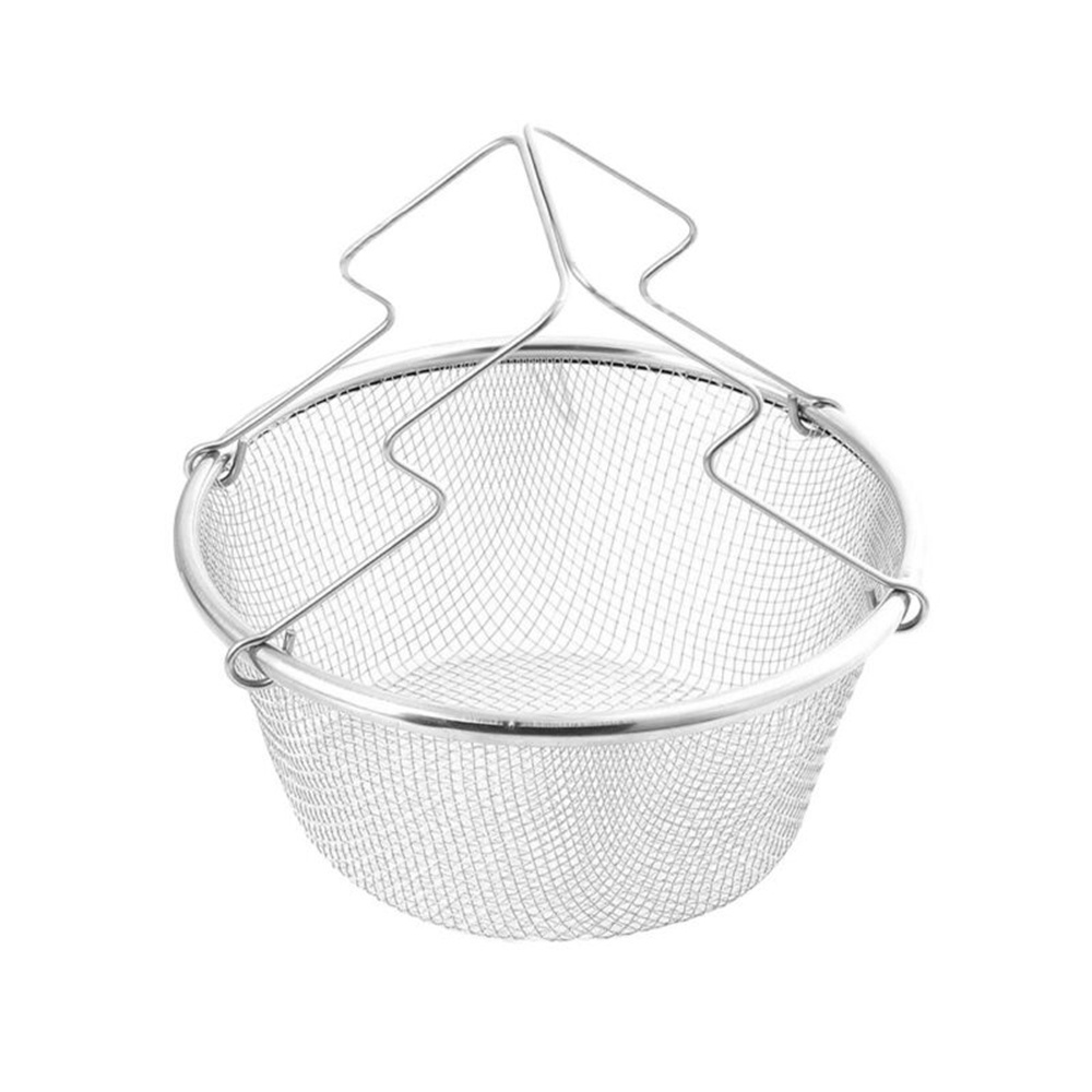 Chef Accessories Chip Kitchen Colander Round Fries Food With Handle Stainless Steel Frying Basket Oil Strainer