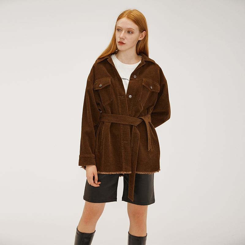 corduroy material fall and winter warm casual vintage women coat with OEM & ODM service-Casual Outwear 2.11