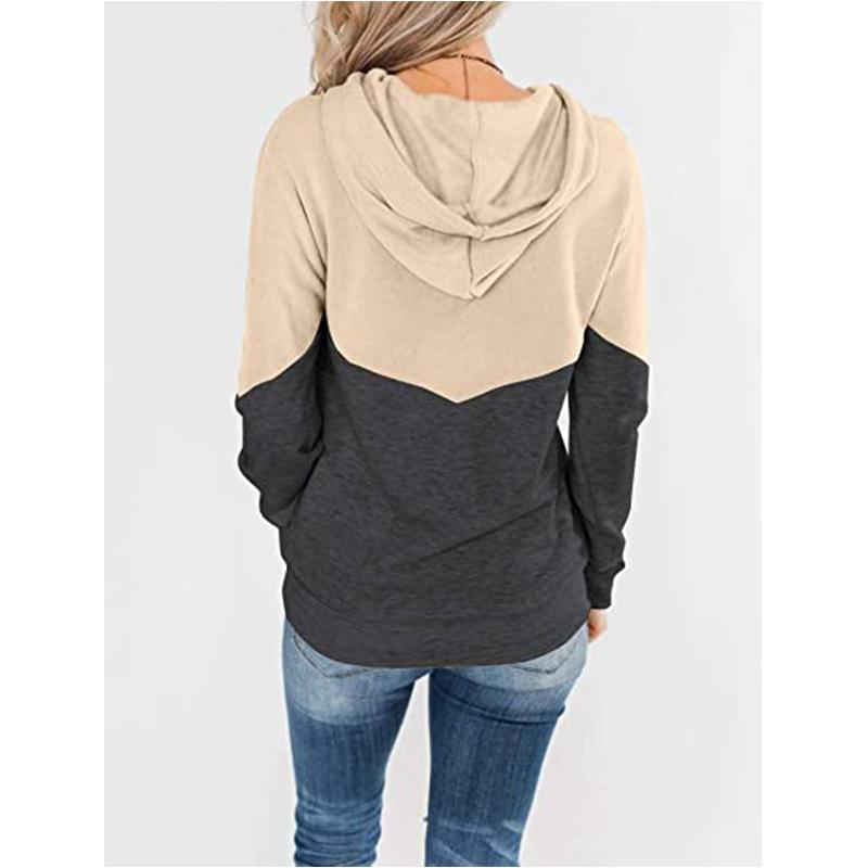 Women Color Block Drawstring Pullover Crewneck Hoodied Sweatshirt