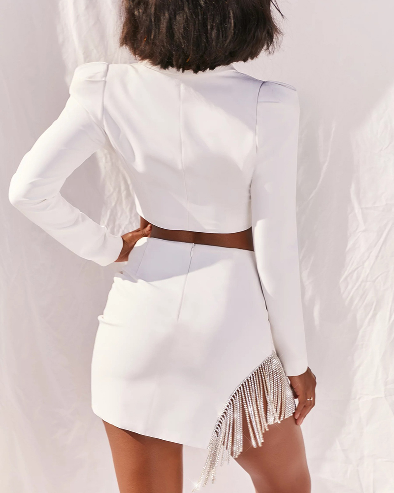 Fashion Crystal Stone Tassel Short Skirt Casual Two-Piece Suit