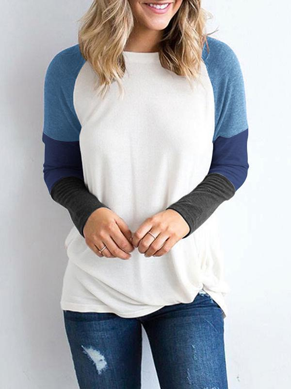 Mokoshoes Round Neck Panel Long Sleeve Contrast T-Shirt Top