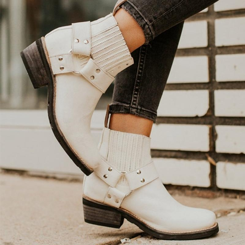Women Buckle Retro Ankle Boots Western Boots