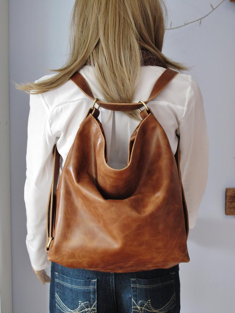 Tan convertible leather backpack, shoulder bag, crossbody purse, diaper bag, hobo bag