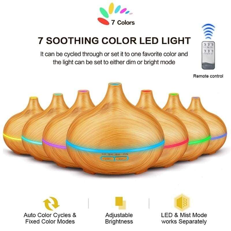 550ml Aroma Air Diffuser Wood Ultrasonic Air Humidifier Household Aromatherapy Essential Oil Electric Humidifier