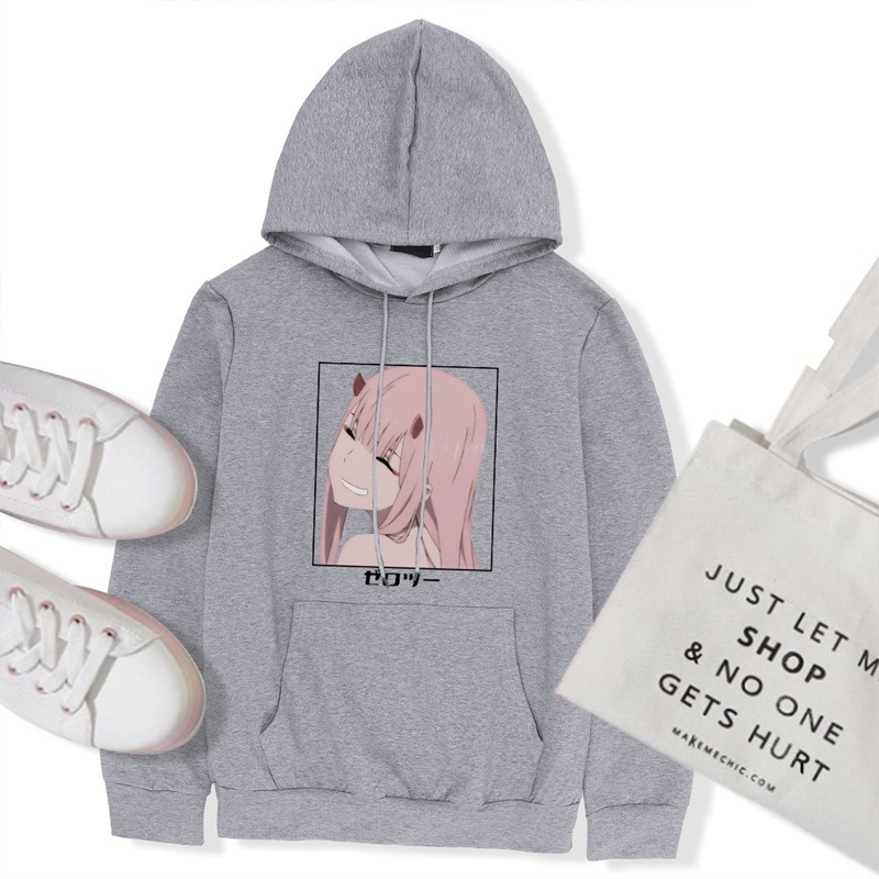 2020 New Women Anime Darling In The Franxx Hoodies Casual Funny Cute Zero Two Print Loose Long Sleeve Hooded Sweatshirt Tops For Girls