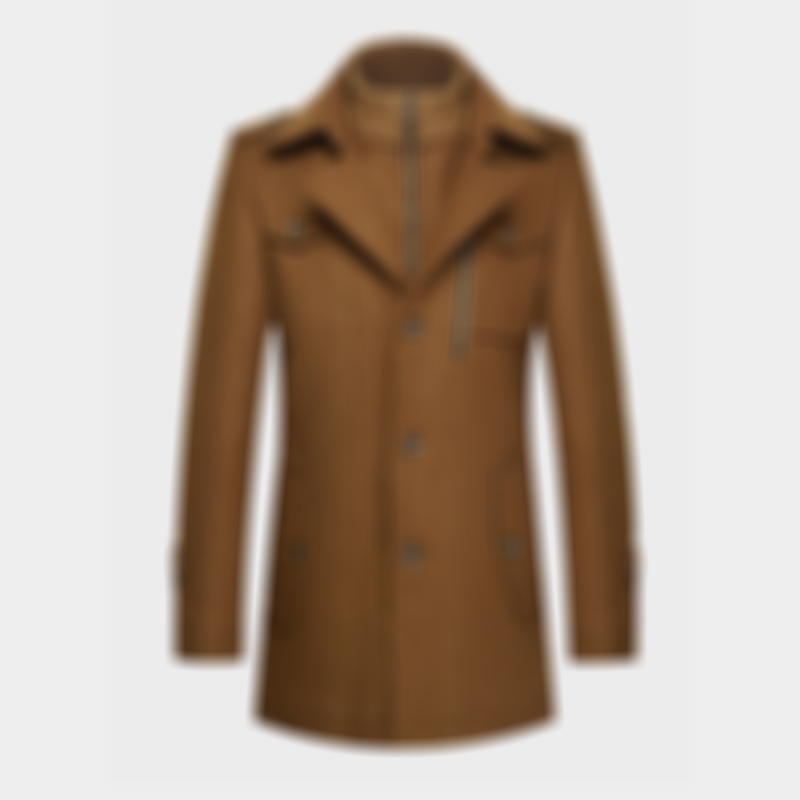 Mens Wool Double Collar Thicken Business Casual Solid Color Overcoats