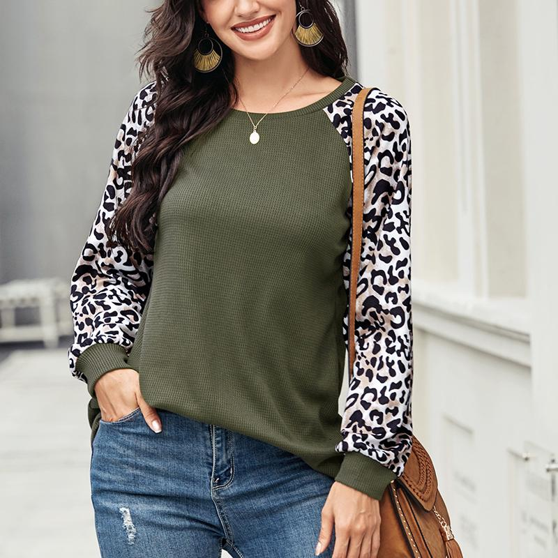 Women Casual Tunic Crew Neck Long Sleeve Leopard Print Top