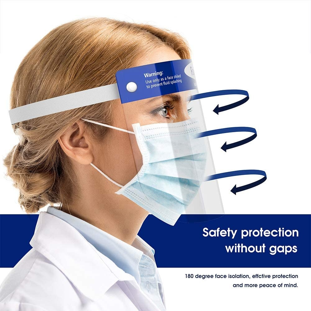 Transparent Face Shield Adjustable Anti-Fog Dental Full Face Shield Protect Eyes and Face with Clear Film Elastic Band and Comfort Sponge