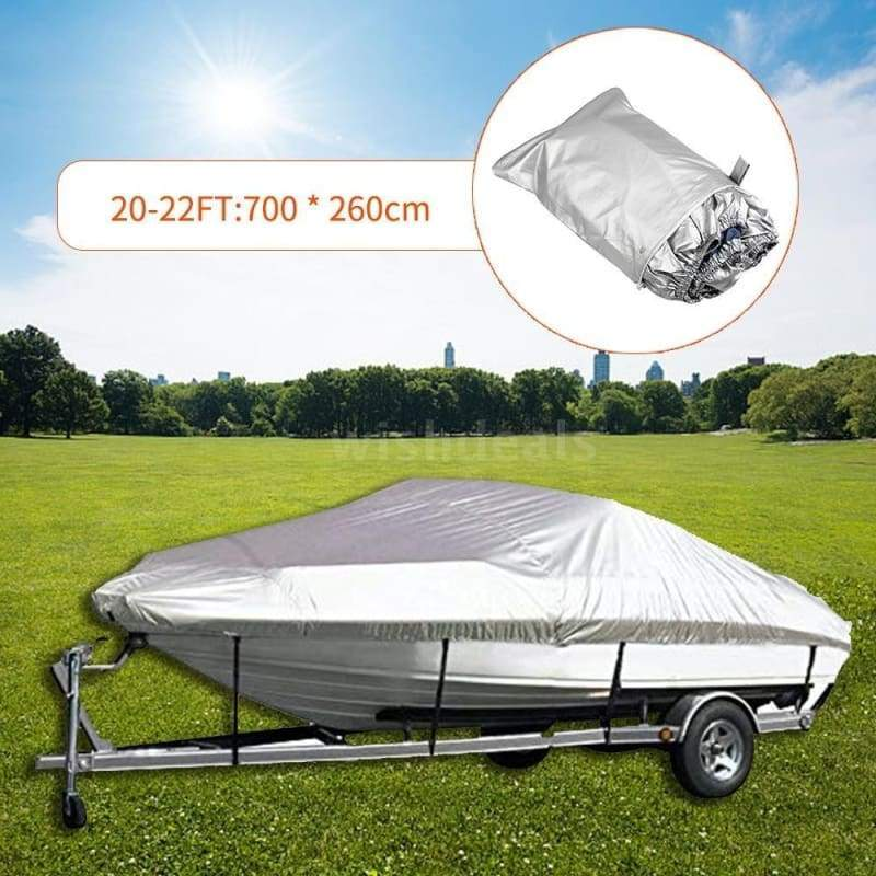 300D Boat Cover Yacht Cover Yacht Anti-smashing Rain Cover Waterproof Boat Cover Oxford Fabric Waterproof Boat Cover for V-Hull Runabouts And Bass Boats 11-22FT