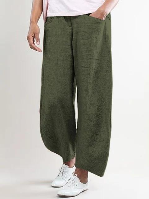 5XL Plus Size Wide Leg High Waisted Linen Pants