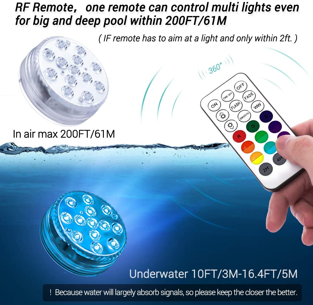 💥SUMMER SALE💥Waterproof LED Pool Lights Remote Control&Home decorations(RF)