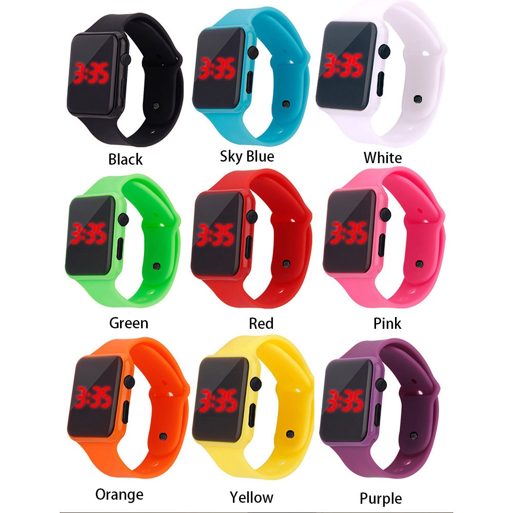 Student Electronic Square Dial Sports Watch With Silicone Strap Led Watch Digital Wrist Watch