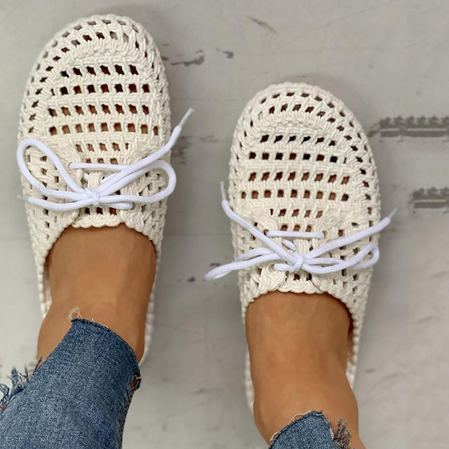 Zoeyootd Hollow Out Lace-Up Slippers For Women