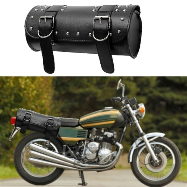 Universal Kit Motorcycle Synthetic Leather Black Round Fork Bag for Motorcycle Racing Tail Bag