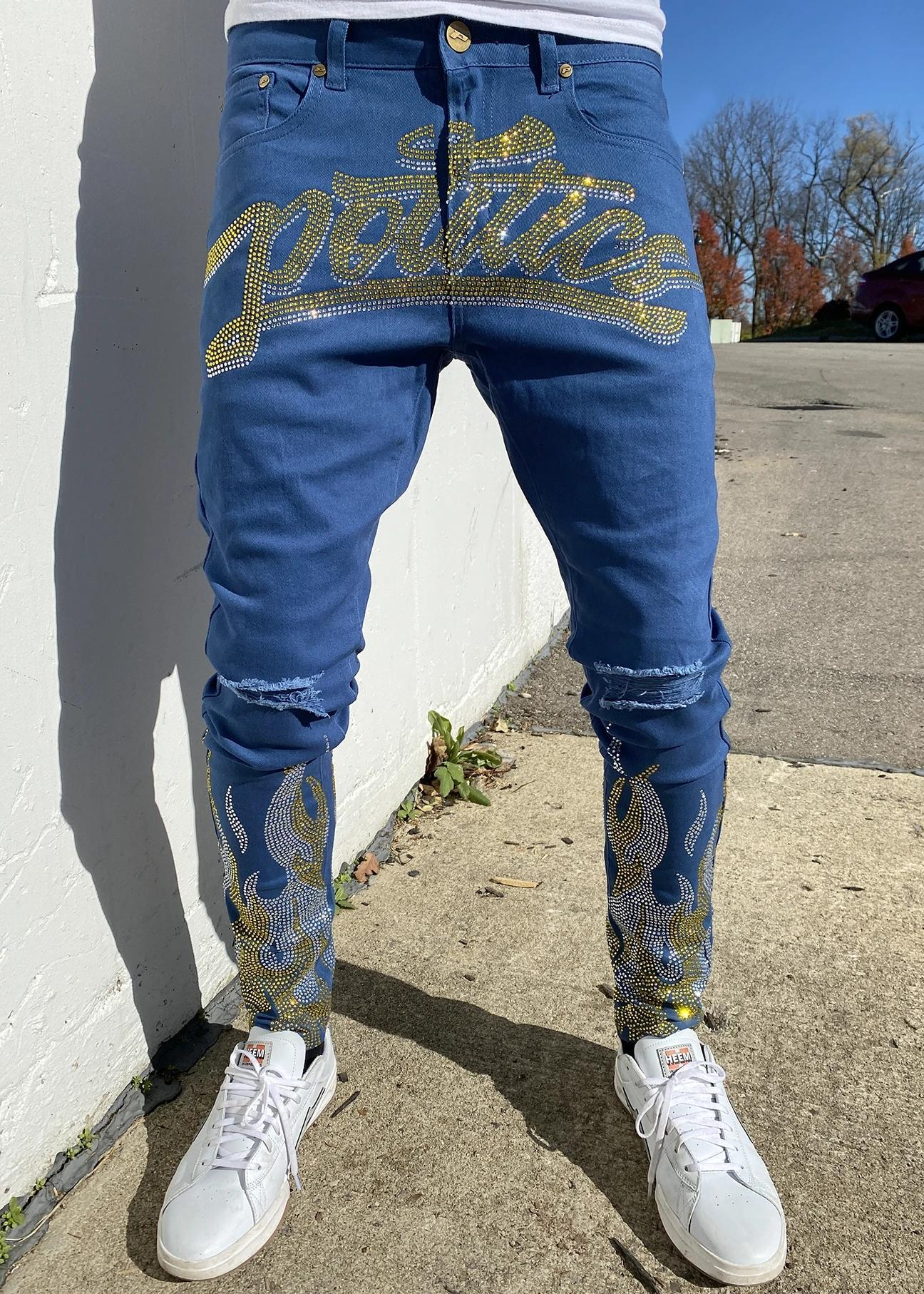 Political jeans stone and flame royal blue