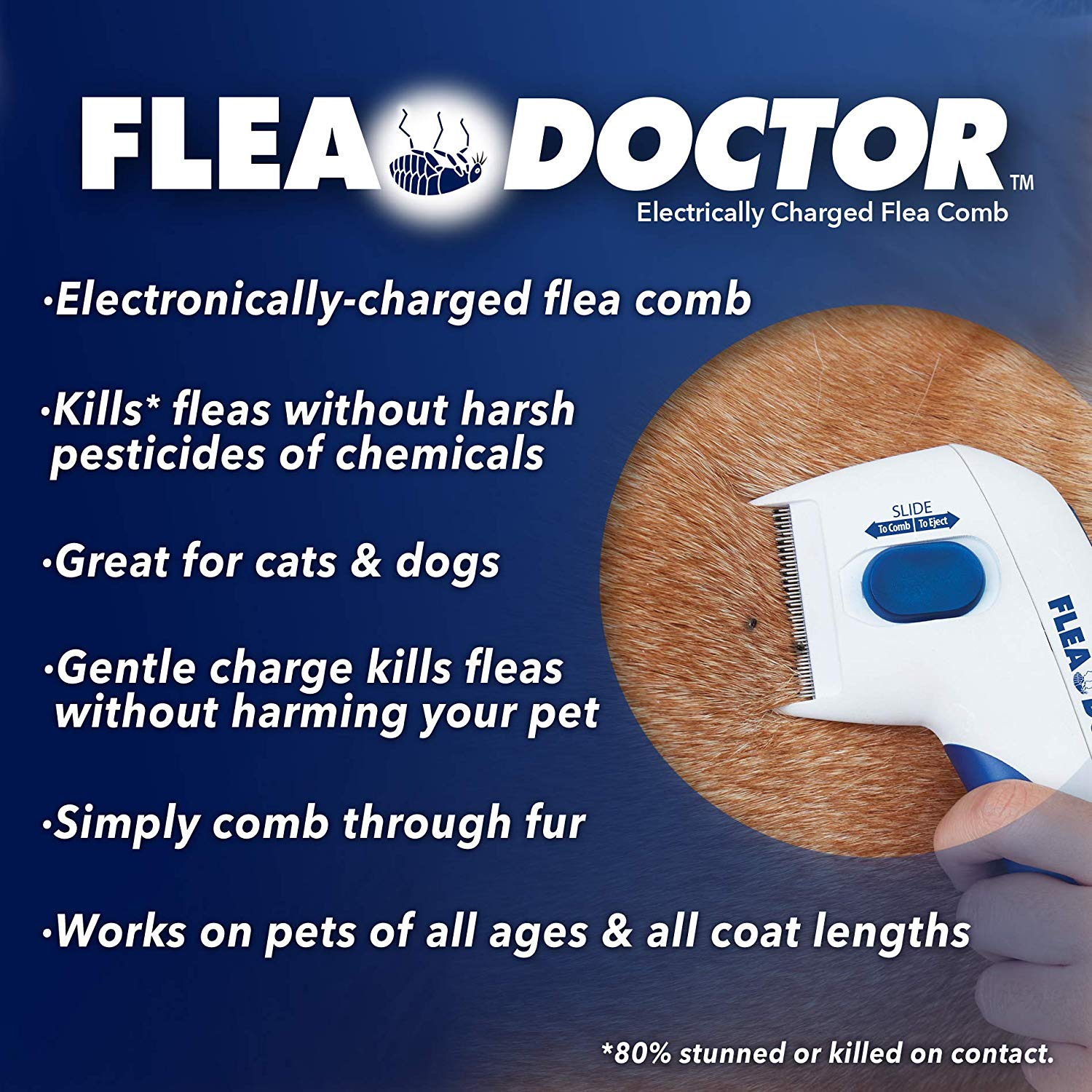 Electronic Flea Comb Perfect for Dogs & Cats, Kills & Stuns Fleas