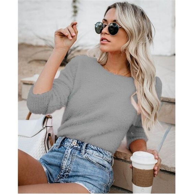 10 Colors Autumn And Winter New Women Sweater Round Neck Solid Color Knitting Long Sleeve Sweater Plus Size Top S-5XL
