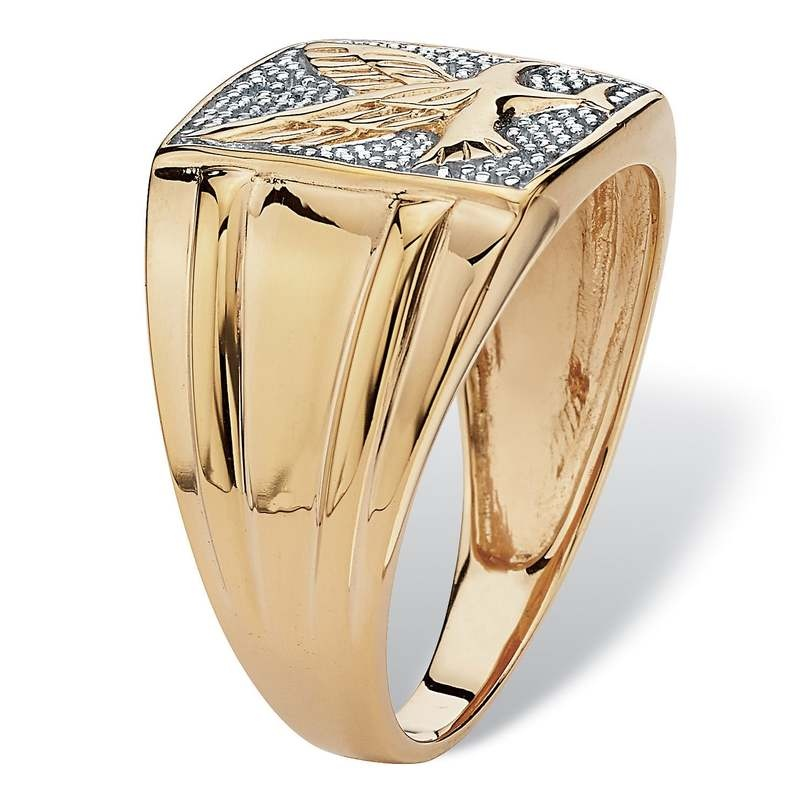 Men's Round Diamond 18k Gold Over Sterling Silver Eagle Ring Engagement Wedding Band Rings