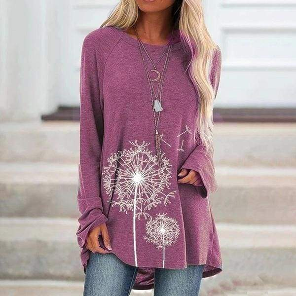 Womens Fashion Dandelion Floral Printed Long Sleeve T-shirt Ladies Casual Autumn Crew Neck Loose Solid Color Shirts Tops Pullover Tunic Plus Size