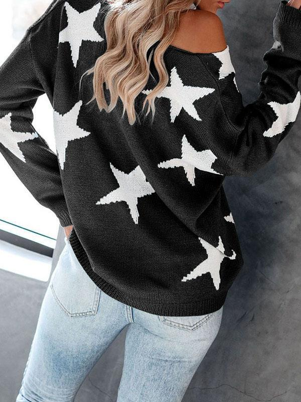 Bonnieshoes Big V Neck Star Sexy Sweater