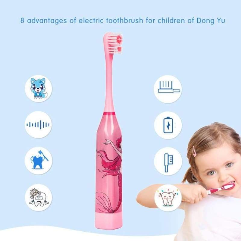 4 colors Children Automatic Electric Toothbrush Cartoon Pattern  Ultrasonic Waterproof Tooth Brush with 2 Brush Heads