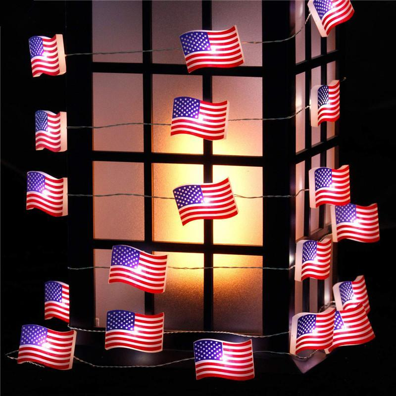 Independence Day Patriotic Decor, USA American Flag String Lights for 4th of July, Remote Control Star Lights