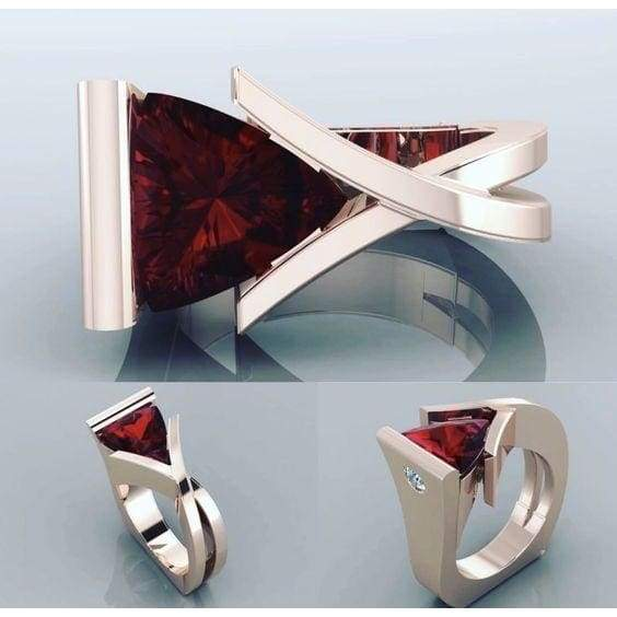 Newest Luxury Bridal Wedding Jewelry Exquisite 18K Pure Rose Gold Inlay Natural Heart Shape Ruby Diamond Party Ring Anniversary Gift Female Exaggerated Engagement Jewelry Ring Size 5-11