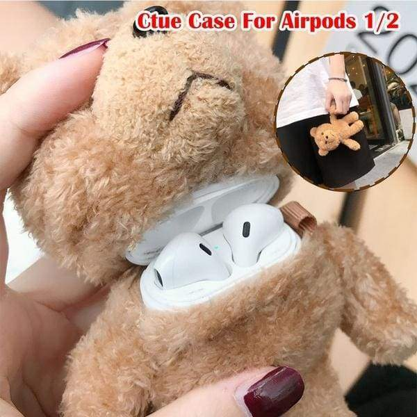 Ultra Thick Soft Silicone Plush Brown Bear Case with Hook Clip for Apple Airpods 1/2 Wireless Earbuds 3D Cartoon Fluffy Warm Teddy Doll Toy Fun Cool High Fashion Cute Lovely Girls Daughter Kids Gift