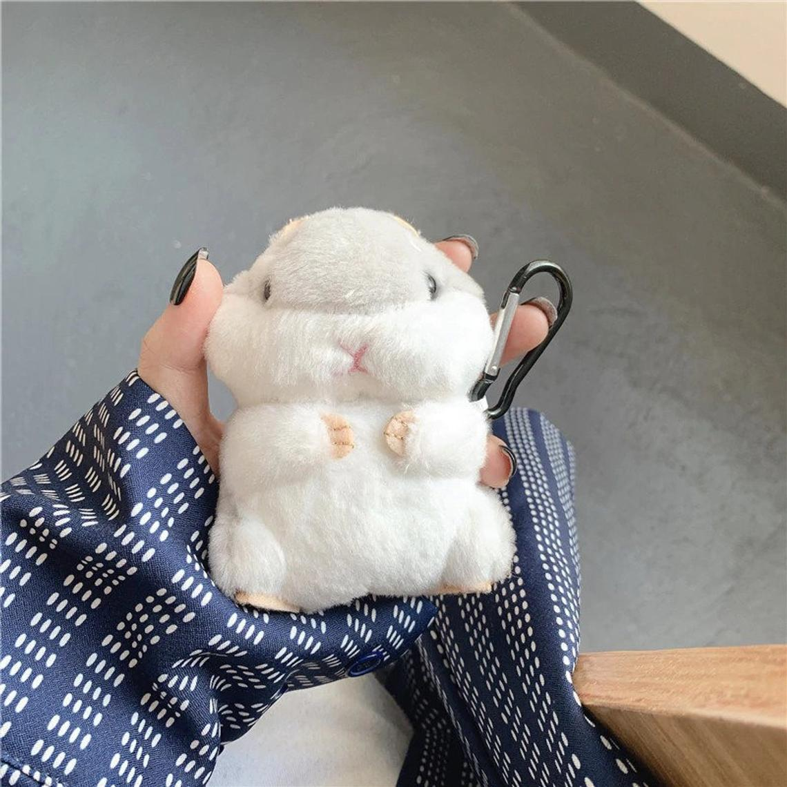 Cute Fluffy Hamster Wireless Earphone Case for AirPods 2 for Apple Air Pods 1 Cover Earpods Protector Accessories with Hook