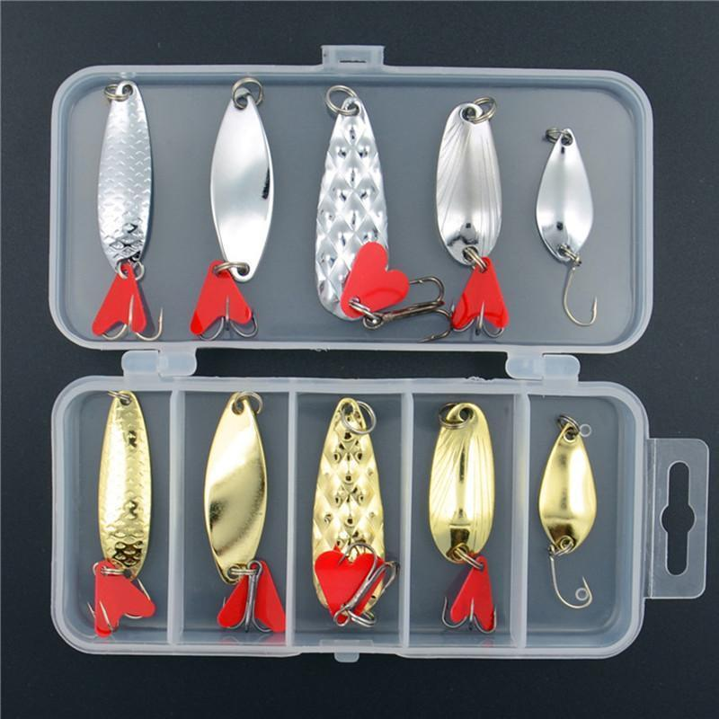 Allblue Mixed Colors Fishing Lures Spoon Bait Metal Lure Kit Iscas Artificias