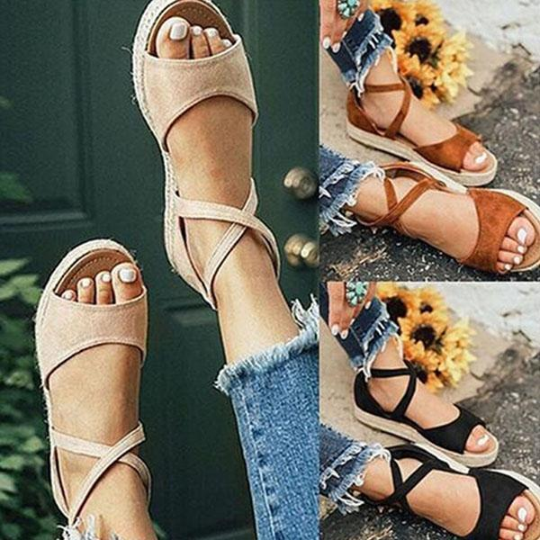 Mokoshoes Thick Bottom Roman Zipper Sandals
