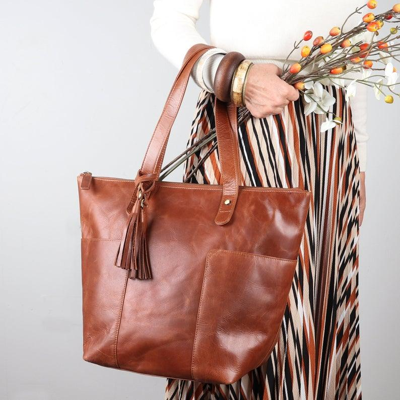 Leather Tote With Tassle, Leather Shoulder Bag, Purse With Pockets, Dark Tan