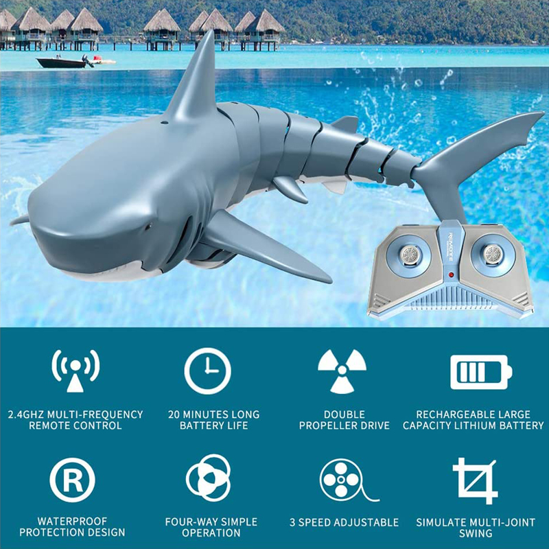 2.4G Remote Control Simulation Shark Boat, Underwater RC Electric Racing Boat Toy Boat