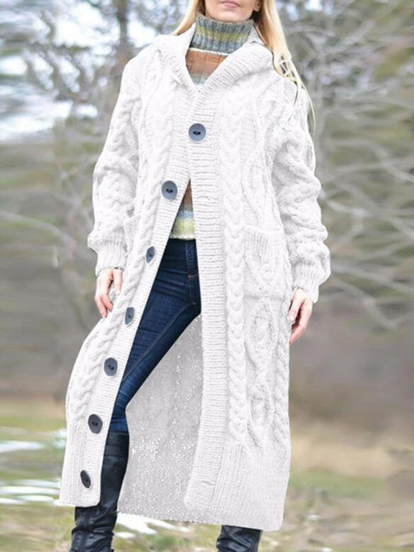 Bonnieshoes Solid Cable-Knit Chunky Knit Pocket Hooded Casual Long Cardigan