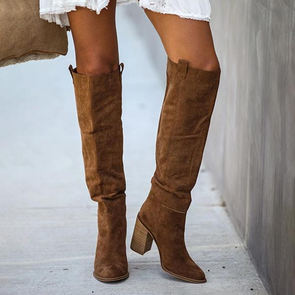 Zoeyootd Distressed Faux Suede Slouch Boots