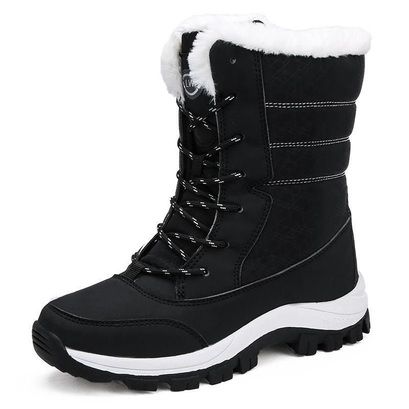 Women Winter Waterproof Anti-skid Lining Faux Fur Lace Up Snow Boots