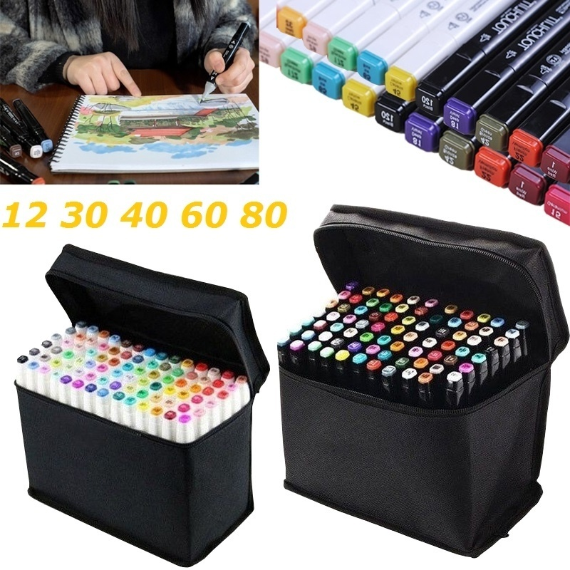 24/ 30/ 40/ 60 Colors Marker Set Sketch Markers Brush Pen Dual Head Art Markers Set For Draw Manga Animation Design