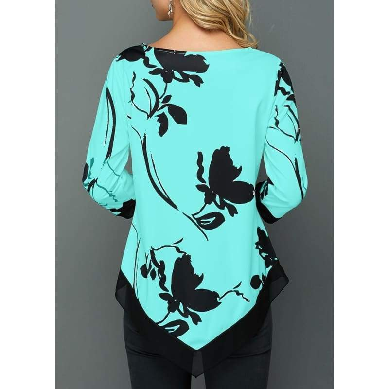 Women's Fashion Printed Long Sleeve T Shirt Ladies Casual Plus Size Tops (S-5XL)