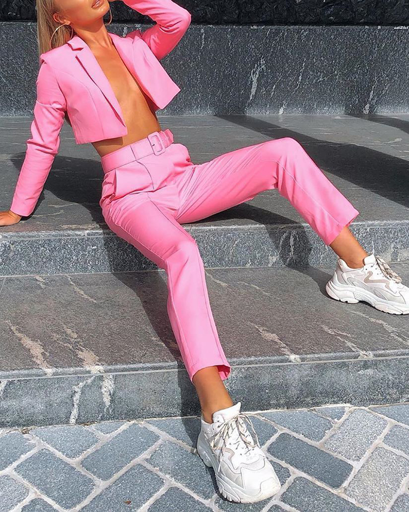 Solid Color Long-Sleeved Blazer Pants Two-Piece Suit With Belt