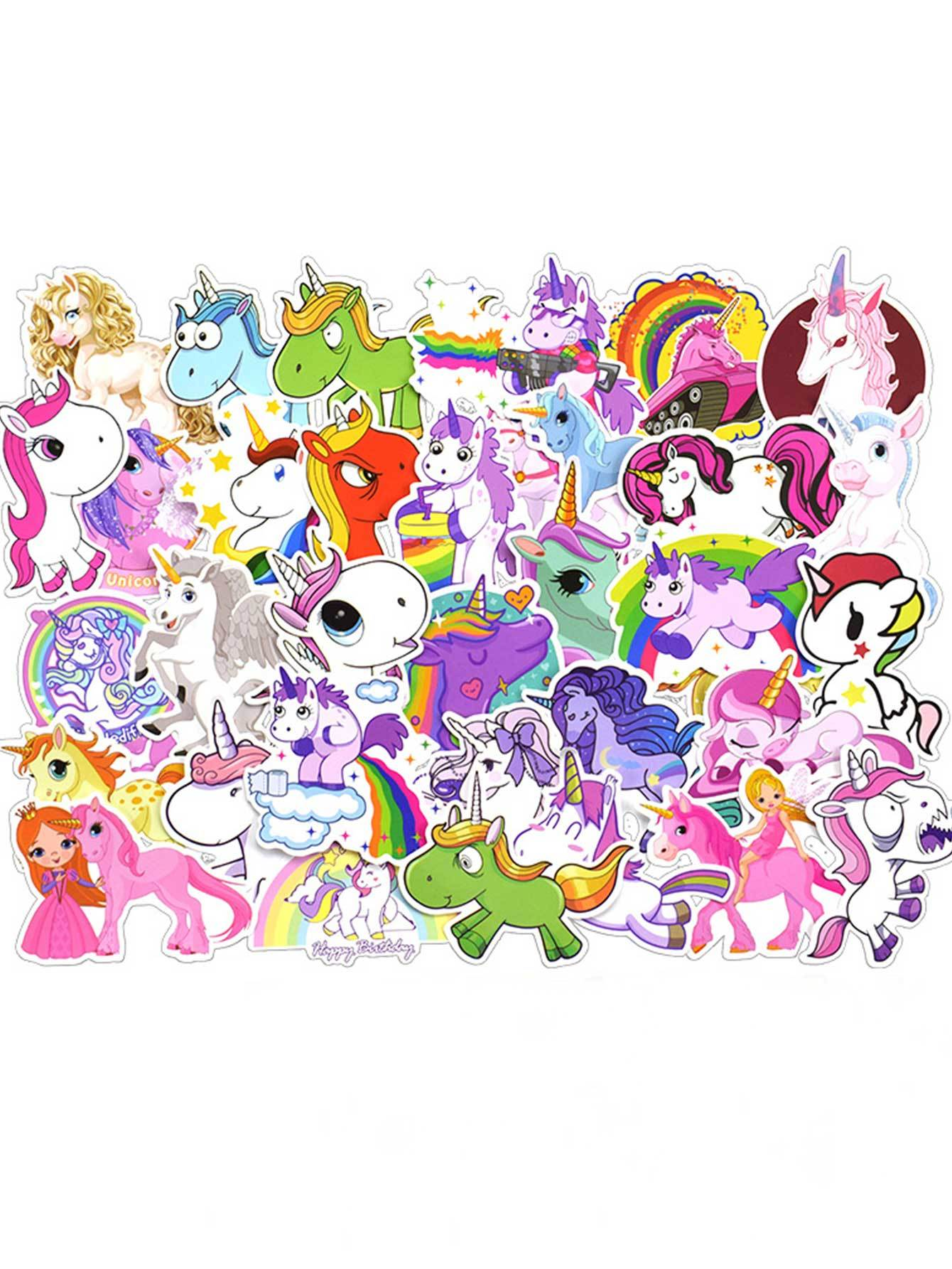 Cartoon Unicorn Print Sticker 50pcs
