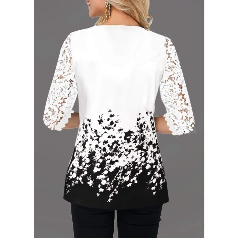 Women's Casual Floral Print Lace V Neck T Shirt Casual Tops Plus Size XS-5XL