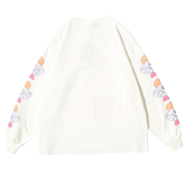 Printed Loose Cotton Round Neck Long Sleeve T-shirt