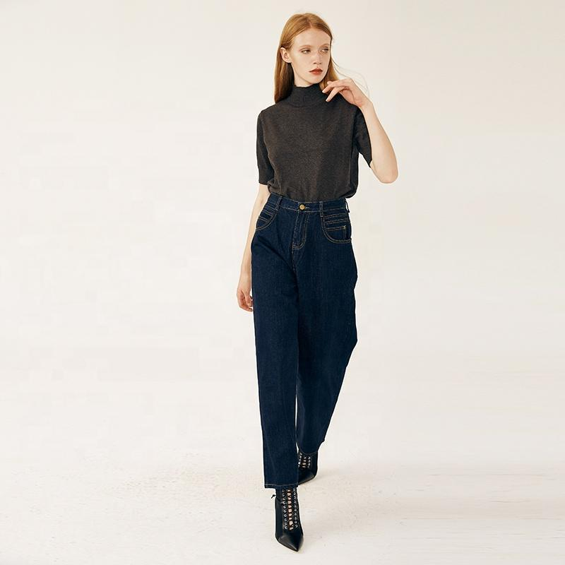 Women's trousers wide leg pants new high waist loose washed blue-jeans 2.11