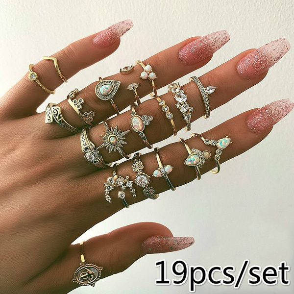 19 Pcs/ Set Personality Inlay Diamond Crystal Irregular Gold Women Joint Ring Fashion Cross Crown Star Water Drop Moon Round Geometry Opening Ring Set Combination